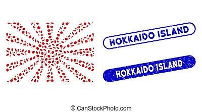 île, mosaïque, soleil, ellipse, hokkaido, japonaise, filigranes, levée, textured