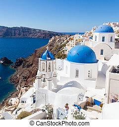 île, oia, traditionnel, grec, santorini, village, greece.