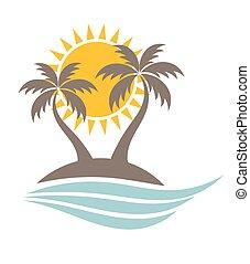 île, palmiers, océan