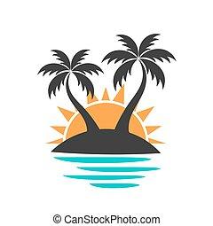 île, palmiers
