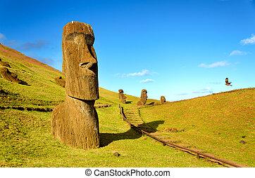 île, paques, collines, moai