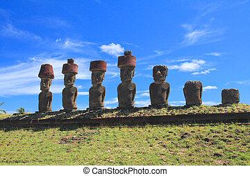 île, Paques, imposant,  Moai