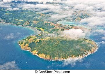 île, paradis, vue aérienne