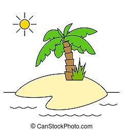 île, paume, isolé, arbre