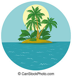 île, paume, soleil
