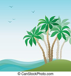 île, paysage, paume, mer
