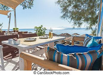île, petit déjeuner, plage, santorini