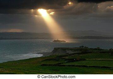 île, phare, rayon soleil, sur, magique