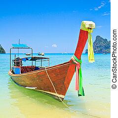 île, phi, bateaux, mer, thaïlande