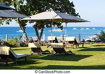 île, philippines, ensoleillé, panglao, coast., chaise, plage