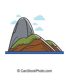 île, pierre, grand