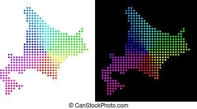 île, pixelated, hokkaido, spectre, carte