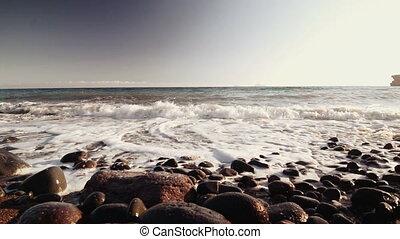 île, plage blanche, santorini, côte