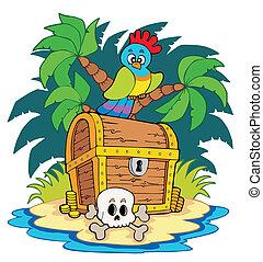 île, poitrine, trésor, pirate