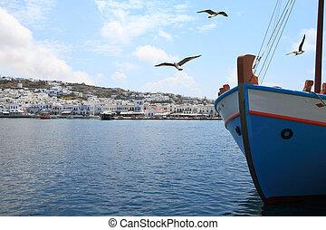 île, port, mykonos, peche, grèce, bateau