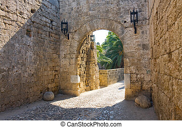 île,  rhodes, Rue, Grèce, chevaliers, château,  John