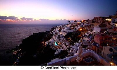 île, santorini, grèce, village, oia, bas, grec