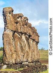 île, sept, Paques,  Moai