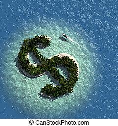 île, signe dollar