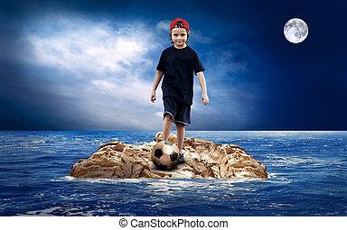 île, soccerball, sea., enfant