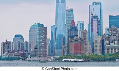 île, staten, york, nouveau, manhattan, ferry-boat