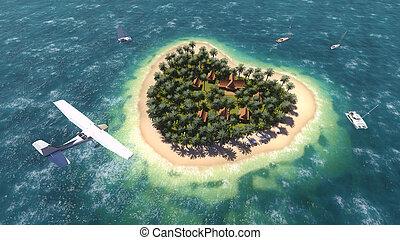 île, sur, avion, forme coeur