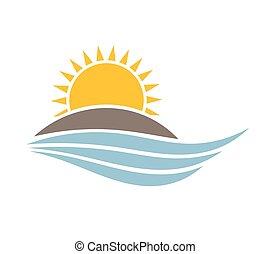 île, sur, vecteur, coucher soleil