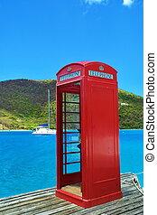 île, téléphone, rouges, cabine