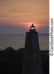 île, tête, chauve, lighthouse.