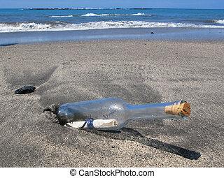 île, tenerife, sable, noir, bouteille, message, canaris