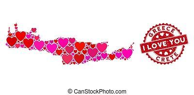 île, timbre, valentin, crète, textured, collage, carte,...