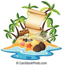 île, trésor, bannière, gabarit