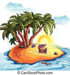 île, trésor, illustration, coffre