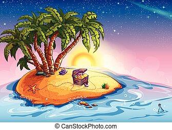 île, trésor, illustration, poitrine, palmiers