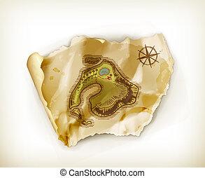 île, trésor, vieux, carte