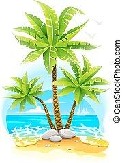île tropicale, cocotier, arbres