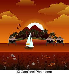 île tropicale, coucher soleil, fond