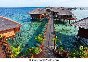île tropicale, fait, homme, recours