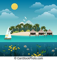 île tropicale, fond