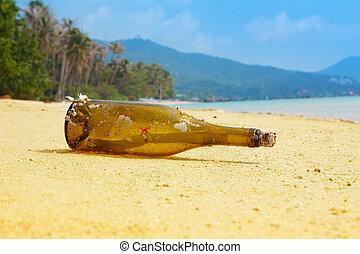 île tropicale, message, bouteille