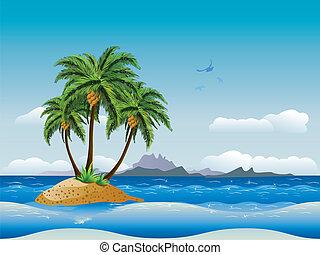 île tropicale, océan