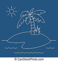 île tropicale, palmier