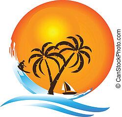 île tropicale, paradis, logo