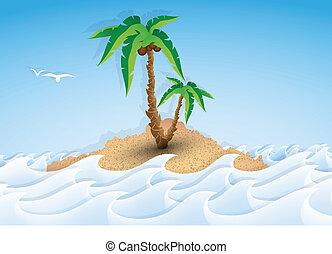 île tropicale, paume, papier, arbre