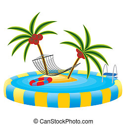 île tropicale, piscine extérieure