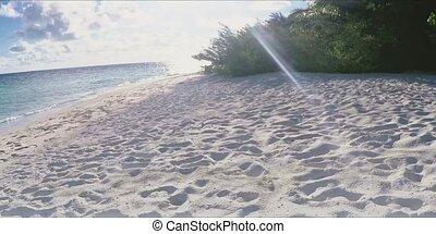 île tropicale, plage, délassant, promenade