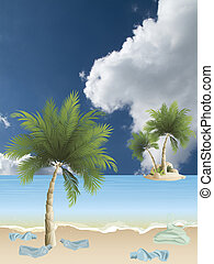 île tropicale, pollué, plage