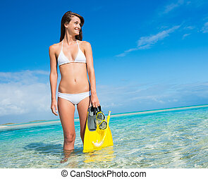 île tropicale, snorkel, femme, engrenage