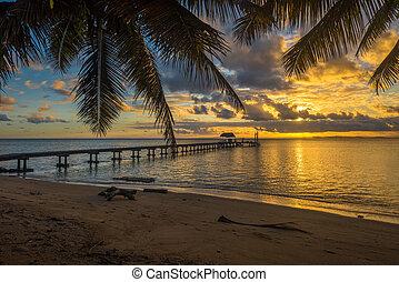 île tropicale, vacances, paysage, jetée