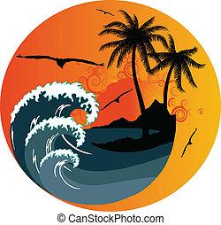 île tropicale, vague océan